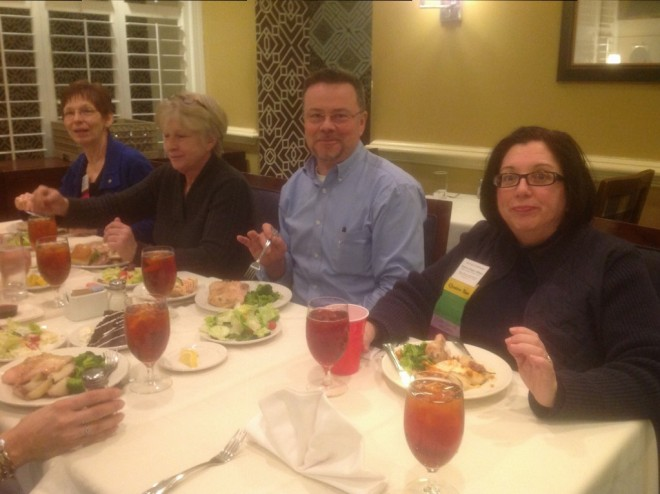 Dinner on Thursday: From right to left: Ginger Hilleary, conference chair, Dr. Don Finn, presenter, Page Stirrup, VALRC support, and Annette Loschert, VLF Consultant.