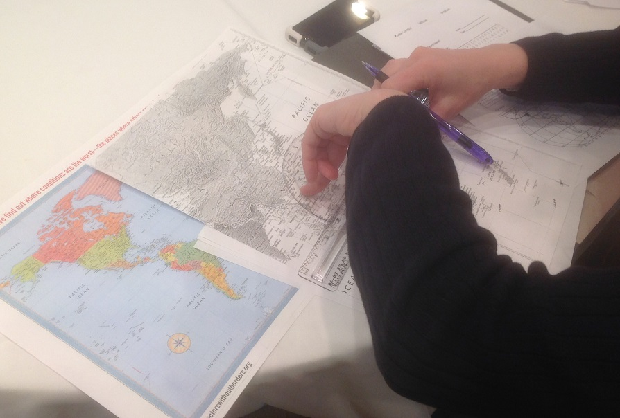Using protractor and ruler to find Flight 370