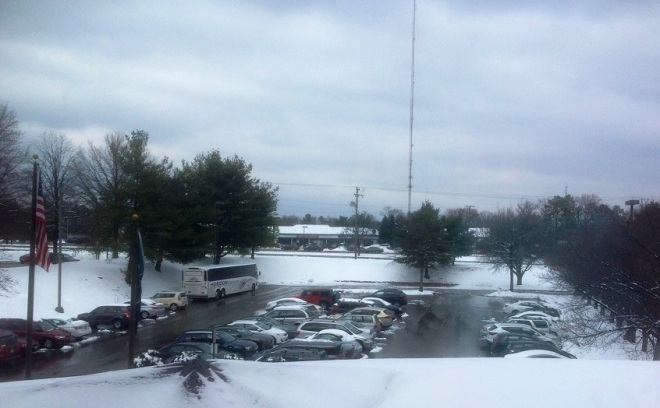 Hotel parking lot. Our main streets are clear. The snow is melting.