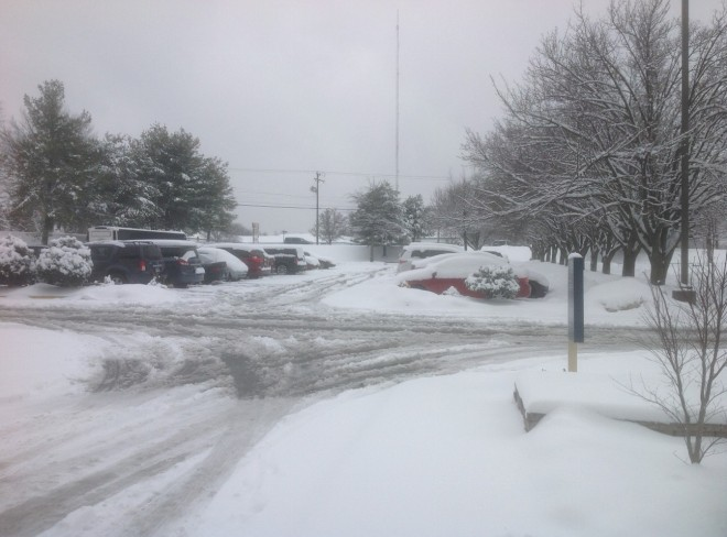 Parking lot conditions at 10:30 AM. The roads are clear.