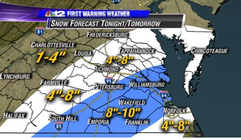Snow prediction 9:00 PM Wednesday