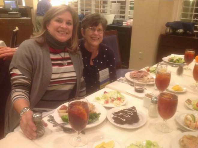 Leslie Mazeska, ED, Loudoun County, and Suzi Smith, conference treasurer, eating dinner (left-overs from lunch, which the hotel graciously served us.)