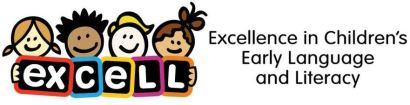 A logo of ExCELL, which stands for Excellence in Children's Early Language and Literacy