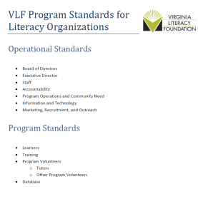 Cover sheet of the program standards with a table of contents