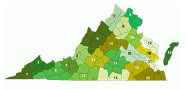 Map of Virginia divided into 22 regions for adult education and literacy