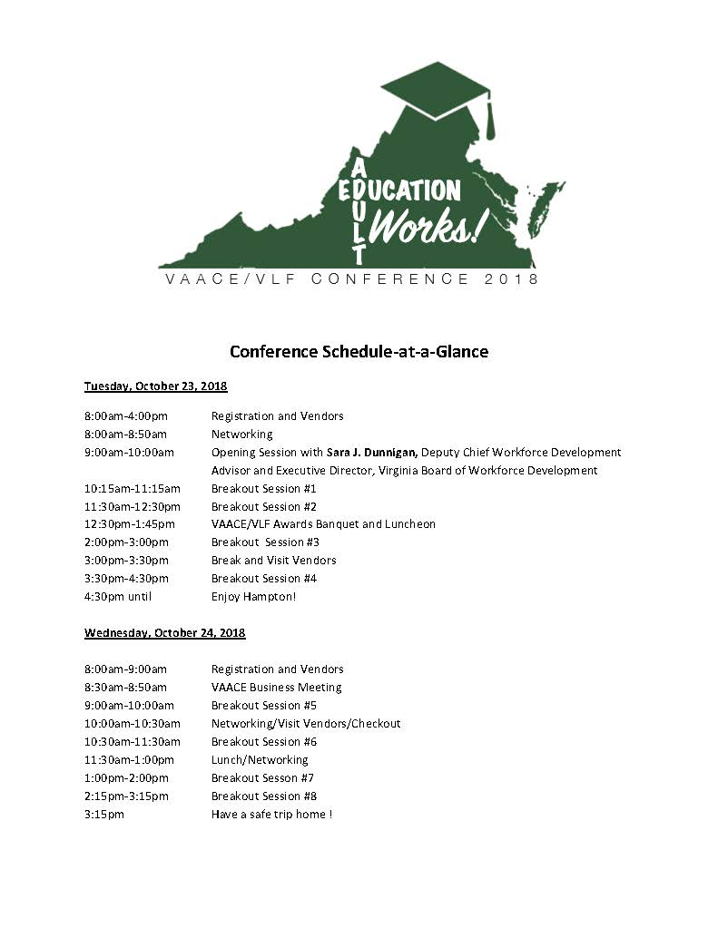 VAACE.VLF Conference Schedule at a glance 2018