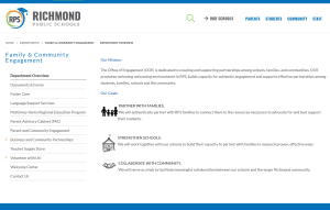 Home page of Richmond Public Schools Family and Community Engagement