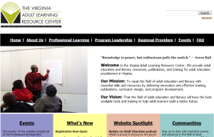 Home page of the Virginia Adult Learning Resource Center